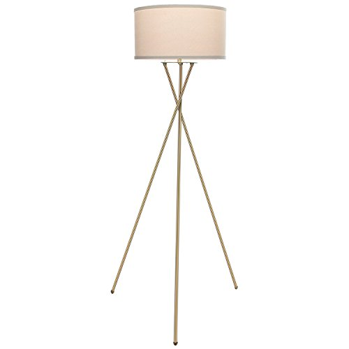 Brightech Jaxon Tripod LED Floor Lamp – Mid Century Modern Living Room Standing Light - Works with Alexa – Tall Contemporary Drum Shade Uplight and Downlight for Bedroom or Office – Brass/Gold by Brightech