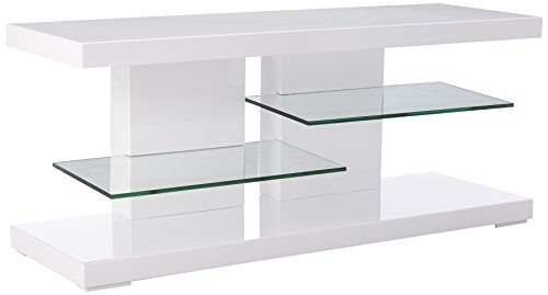 (TV Stand with Alternating Glass Shelves Glossy White and Clear)