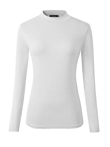 Veranee Women's Long Sleeve Slim Fit Turtleneck Basic Layering T-Shirt (Medium, White) (Cotton Turtleneck Shirt)