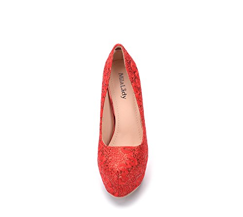 Mila Lady Fay Embroidered Lace Elegance Sky-High Sparkles Platform Lady Heels Red GKDEoI