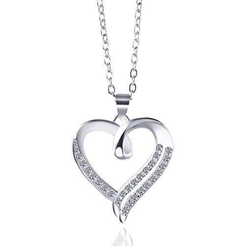 (Trinity Space Cubic Zirconia High Polish Heart Pendant Necklace 18