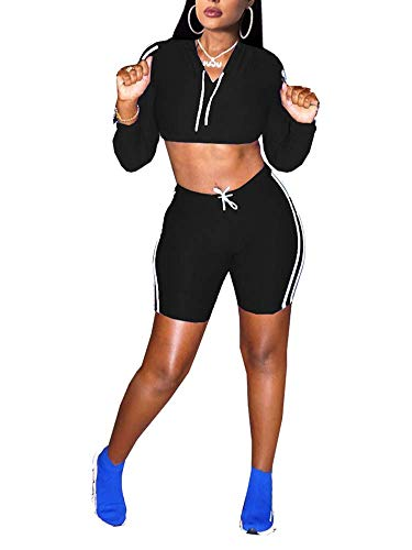 Succi Women Casual Tracksuits 2 Piece Outfits Long Sleeve Drawstring Hoodie Crop Top Mini Short Pants Tracksuits Set Sportwear Black M ()