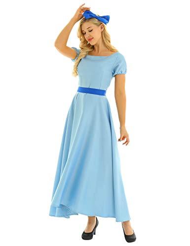 CHICTRY Vestido Princesa Mujer Vestido Largo Azul con Bowknot Cosplay Disfraz Princesa Adulto Fiesta Halloween Carnaval Ceremonia