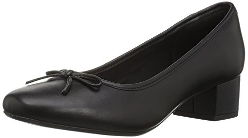 Clarks Women's Chartli Daisy Dress Pump, Black Leather, 8.5 M US