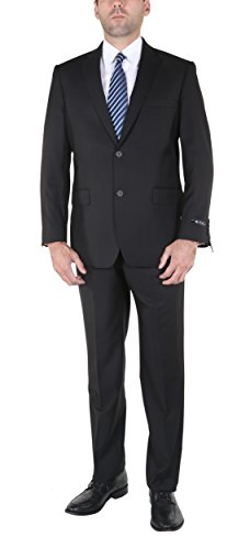 PL Men's Two-Piece Classic Fit Office 2 Button Suit Jacket & Pleated Pants Set