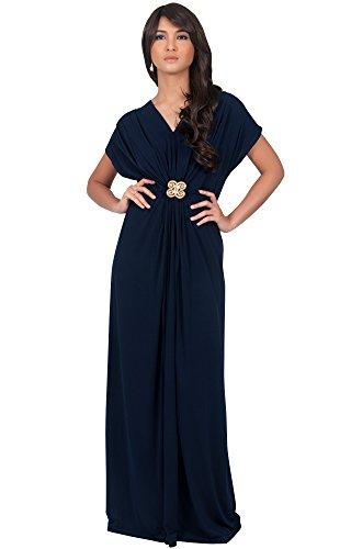 Koh Koh Women'sVneck Short Sleeve Ruched Waist with Gold Belt Maxi Dress - Medium - Navy Blue