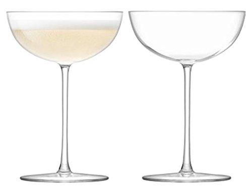 LSA International Olivia Champagne Saucer, Glass, Clear, 150 ml, Set of 2 OC09