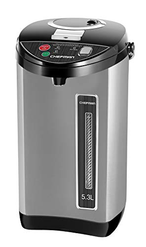 Chefman Instant Electric Hot Water Pot Coffee Urn w/ Auto & Manual Dispense Buttons, Safety Lock, Auto-Shutoff & Boil Dry Protection, UL Certified, Insulated Stainless Steel, 5.3L/5.6 Qt/30+ Cups (Water Boiler Commercial)