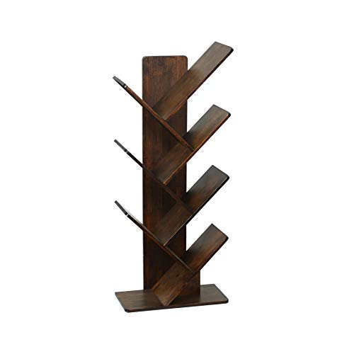 C&AHOME Tree Bookshelf, Bookcase, 7-Tier Bamboo Wood Book Rack, Storage Shelves in Living Room, Free-Standing Books Holder Organizer, Space Saver for Home, Office, Kid's Room Retro Brown