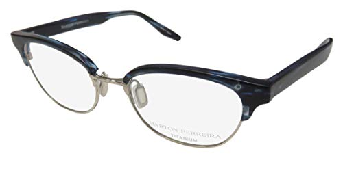 Barton Perreira Estelle For Ladies/Women Cat Eye Full-Rim Shape Titanium Eyes Hip Eyeglasses/Spectacles (49-17-140, Matte Navy Pattern/Silver) (Blue Cat Eye Brille)