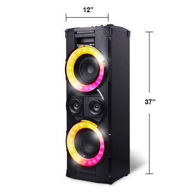 Bluetooth Wireless Tower Speaker, Hex Encore XL Floorstanding Speaker with 2 Microphones Inputs, LED Lights and Huge Bass