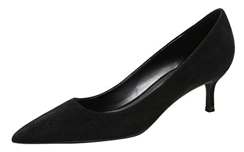 WSKEISP Women's Slip On Pointed Toe Kitten Heel Dress Court Working Shoes Size UK 3.5-8