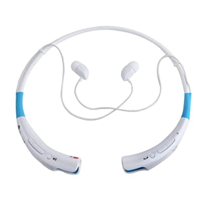 High Quality Enhanced Universal(HBS-740) Wireless Bluetooth Stereo Headset Neckband Style Blue+White