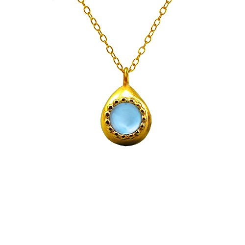 24K Yellow Gold Plated Necklace For Women Set Swiss Blue Topaz Gemstone Teardrop Pendant December Birthstone Handmade Jewelry Birthday Gifts For Her Jewelry Gifts For Women Necklace Gifts For - Yellow Cut Swiss Pendant