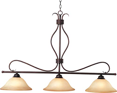 x 3-Light Pendant, Oil Rubbed Bronze Finish, Wilshire Glass, MB Incandescent Incandescent Bulb , 60W Max., Dry Safety Rating, Metal Shade Material, Rated Lumens ()