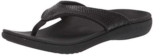 Spenco Women's Yumi 2 Snake Sandal Flip-Flop, Black, 8 Medium US