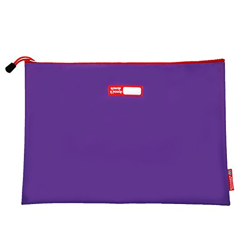 Rough Enough Tarpaulin Classic Durable Big Document Pouch with Zippered A4 Size Important Storage Envelope Holder Large File Folder for Filing Accessories Pocket Organizer for School Business Purple by RE ROUGH ENOUGH