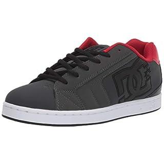DC Men's Net Skate Shoe, Grey/Dark red, 18 M US