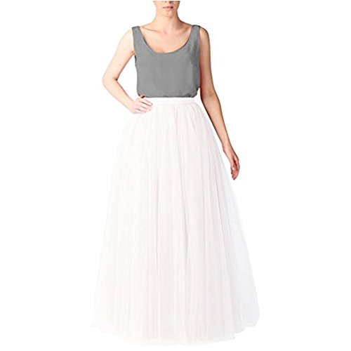 XYDS Women Elastic Waist 5 Layers Tulle Floor Length Ball Gown Wedding Princess Maxi Party Dress Bridesmaid Dresses (White2)