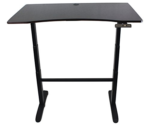 Cool-Living Stand Up Desk Electric Controls- Mahogany Top Black Base with Bonus built in Power Strip