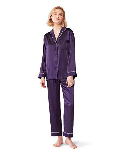 SIORO Womens Silk Satin Pajamas Set Sleepwear Lightweught Loungewear Button Down Pijamas Long Sets,Eggplant S