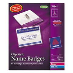 Wholesale CASE of 5 - Avery Laser/Inkjet Clip Style Name Tag Kits-Name Badges,w/ Clip,Top (Inkjet Badge Holder Kit)