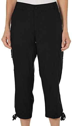 Cargo Capri Pants (Caribbean Joe Women's Cargo Capri Pant with Tie Leg, Black 16)