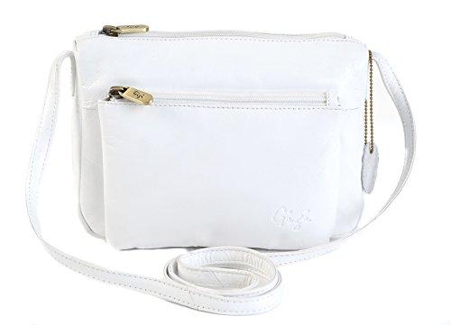GIGI Othello Klein Leder Schulter Crossbody Handtasche 16267 - Weiß, Leder, Unisex-Erwachsene, S, Small Weiß
