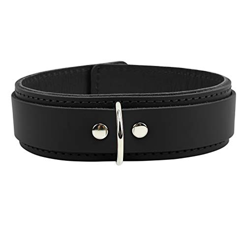 Atlas V Collar Premium Quality Latigo Leather Exquisite Design (Jet Black, Small)