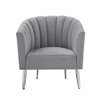 Posh Living Blaze Velvet Accent Chair Grey