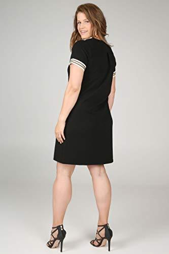 aus Kleid Damen Streifen Größen mit Lurex PAPRIKA große Schwarz Krepp wS6Ipq