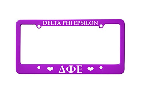 Officially Licensed Delta Phi Epsilon License Plate Frame - Purple with Hearts