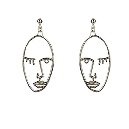 Earrings Picasso (Human Face Dangle Earrings Drop Hoops Studs Cuffs Ear Wrap Pin Vine Dangling Hollow Out Charms Jewelry Silver Style 1)