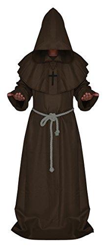 Druid Cloak Costume (Men's Medieval Monk Costume Hooded Priest Renaissance Robe Halloween Cosplay Cloak Party Cape Coffee S)