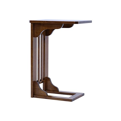 """Modern Wood Accent table for Laptop coffee, Sofa Server tray for living room, Bedroom, Office C shaped end table, 26"""" h x 14"""" w x 16.25"""" Made in America by Organized Home (Michaels Cherry) For Sale"""