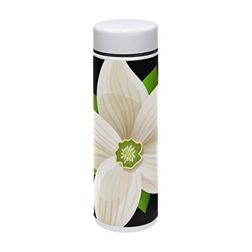 LORVIES White Flower Clipart Stainless Steel Thermos Water Bottle Insulated Vacuum Cup Leak Proof Double Vacuum Bottle for Hot and Cold Drinks Coffee or Tea, Travel Thermal Mug,220 ml/ 7.5oz