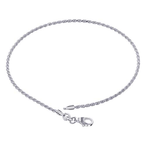 925 Sterling Silver Rope Chain Anklet 10 inch with Lobster Clasp