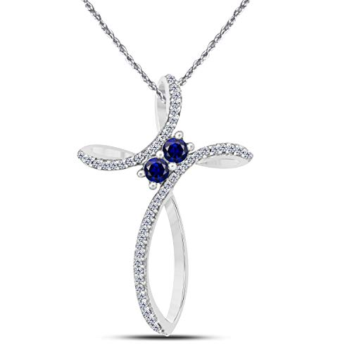 (1.00 Ct Blue Sapphire and Cubic Zirconia Sterling Silver Infinity Cross Pendant Necklaces with Chain)