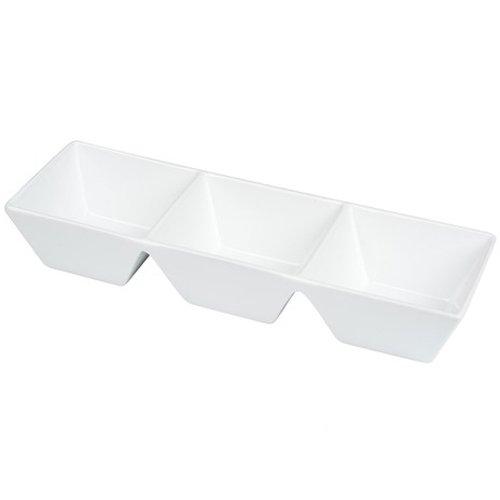 Piatto Aperitivo Dolci Portata Tavola Cucina Ceramica Bianca 3 Posti Tish