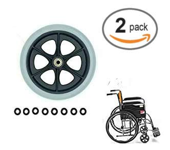 (Universal Wheel Replacement Parts for Wheelchairs Walker Wheels,1 Pair 8 Inch x 1 Inch)