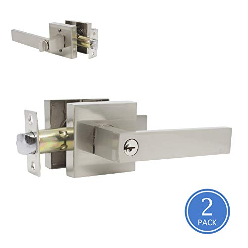 Front Door Locks with Keys, Satin Nickel Finish, Heavy Duty Exterior Door Locking with Square Rosette for Commercial/Residencial Use, Straight Drop Style Door Handles, 2 Pack