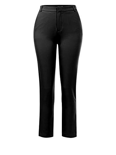 Design by Olivia Women's Classic Straight Slim Solid Trousers Casual Business Office Pants Black M