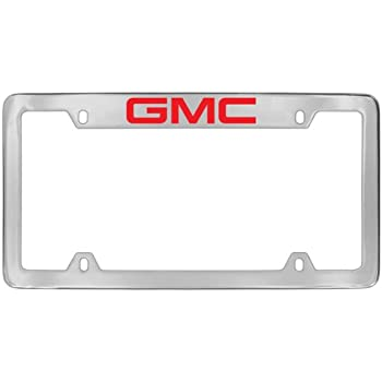 Amazon.com: GMC Red Logo Chrome Plated Metal Top Engraved License ...