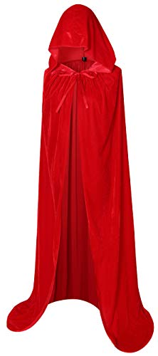 - BIGXIAN Extra Long Hooded Velvet Cloak Halloween Christmas Fancy Cape red