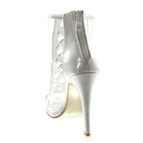 Femme Croisées Talon Chic Transparent 10 5 toe Aiguille Haut Bottine Angkorly Mode Chaussure Lanières Cm Blanc Stiletto Peep 8qPYvPw0