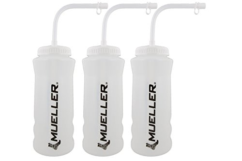 (Mueller Quart Bottle w/ Straw (New Design), Natural Color w/ Black Letters (3-Pack))