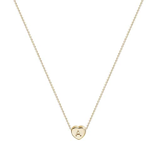 Valloey Tiny Gold Initial Heart Necklace, 14k Gold Filled Delicate Cute Dainty Charm Initial Alphabet Letter Love Heart Choker Necklaces for Women Child Kids Girls Personalized Gifts(A)