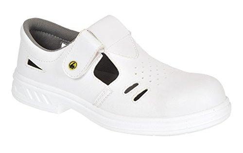 Portwest FW48 - Steelite Seguridad ESD sandalia S1CL3, color Blanco, talla 35 Blanco