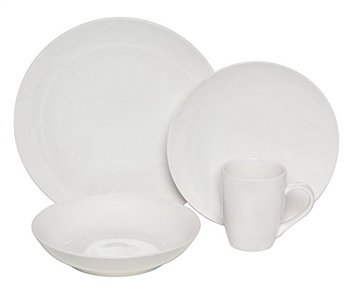 Coupe Soup Salad Bowl - Melange Coupe 18-Piece Porcelain Dinnerware Set (White) | Service for 6 | Microwave, Dishwasher & Oven Safe | Dinner Plate, Salad Plate & Soup Bowl (6 Each)