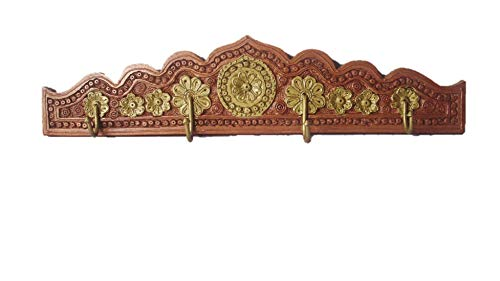 Handcrafted Wooden Embozed Pronged Wall Hook 4 Hooks